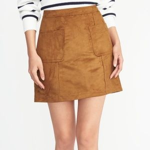 Old Navy Mini Skirt Tan Faux-Suede Utility A-Line